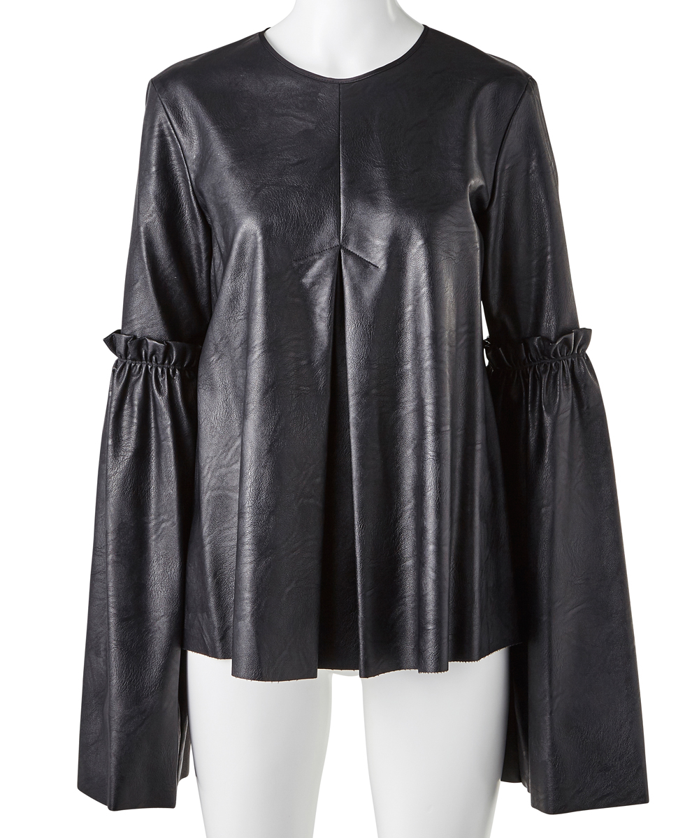 FAKE LEATHER FLARE SLEEVE TOPS