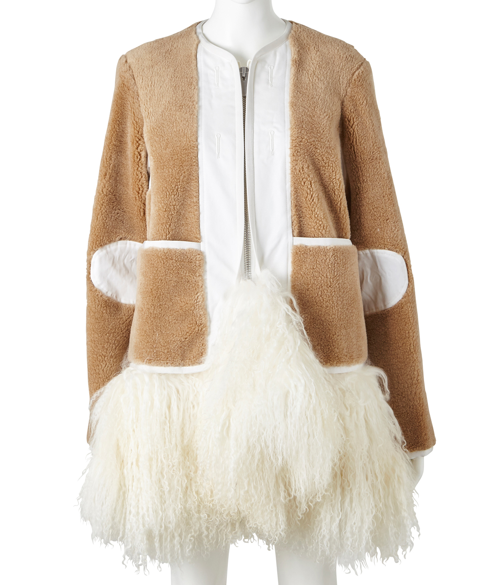 COLLARLESS MELTON COAT SWITCHING FAKE FUR