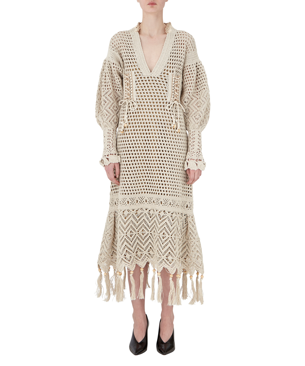 Rattan Knit Fringe Dress
