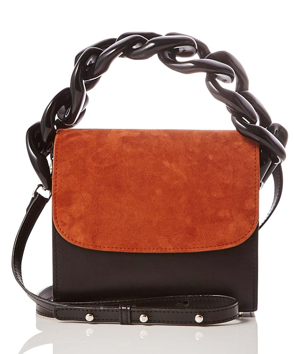 SUEDE AND NAPA LEATHER CHAIN BAG
