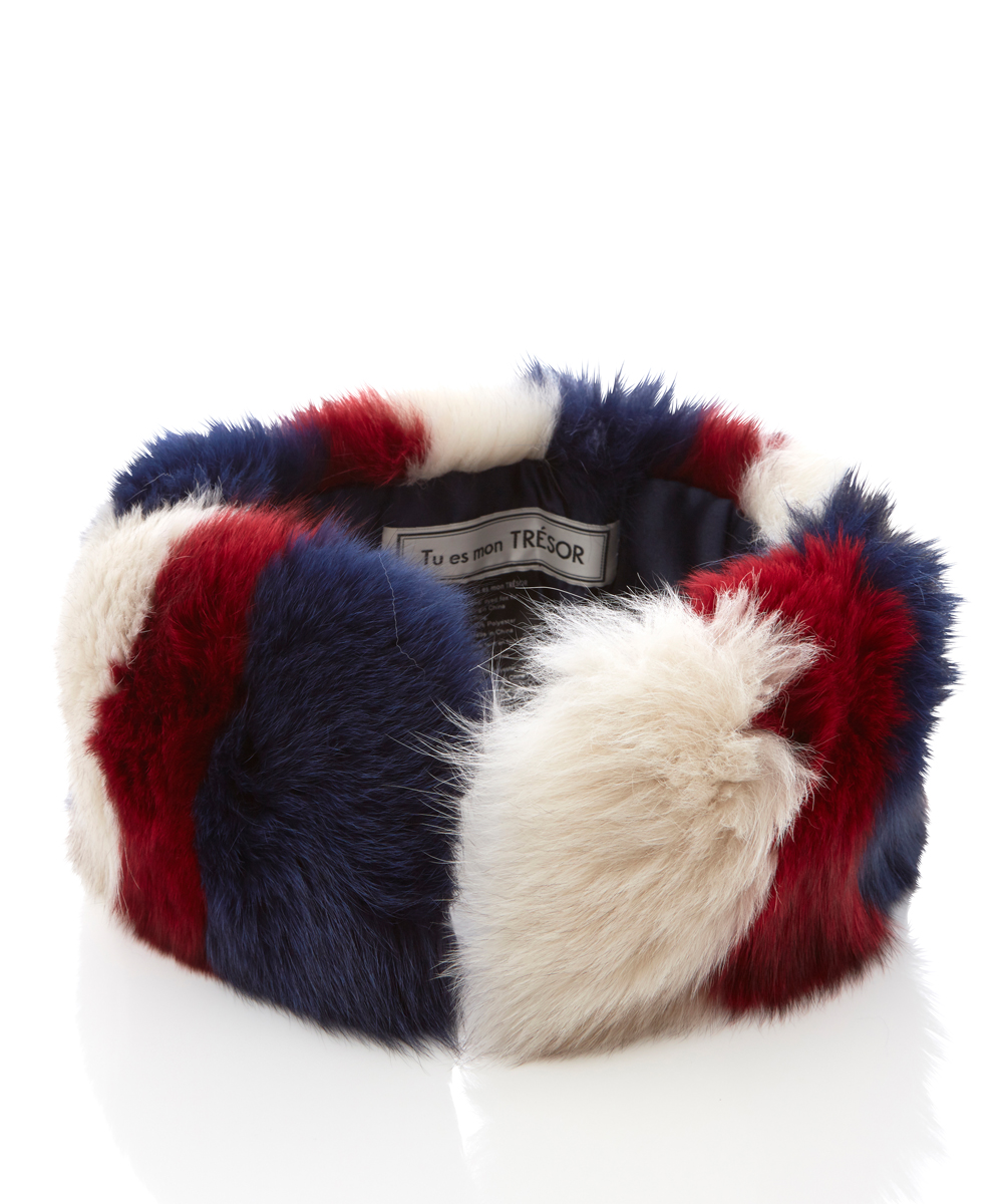 Tricolor fox fur collar